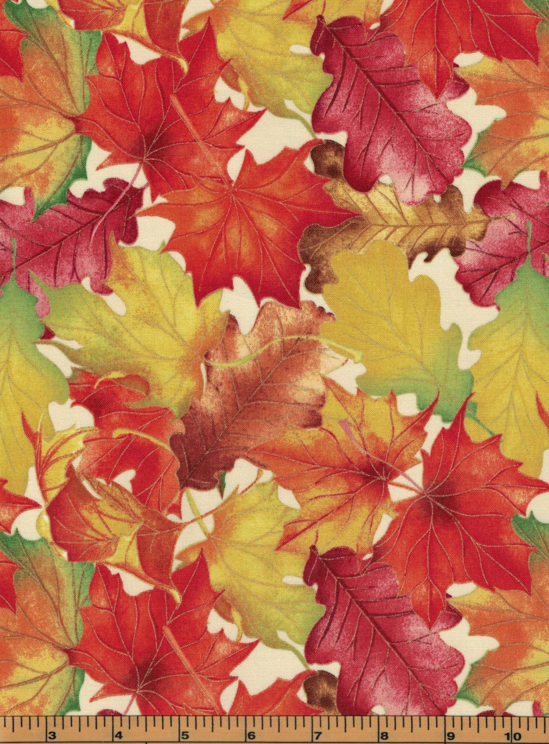 Large Fall Leaves - Harvest Bounty Collection by Quilting ... : high quality quilting fabric - Adamdwight.com