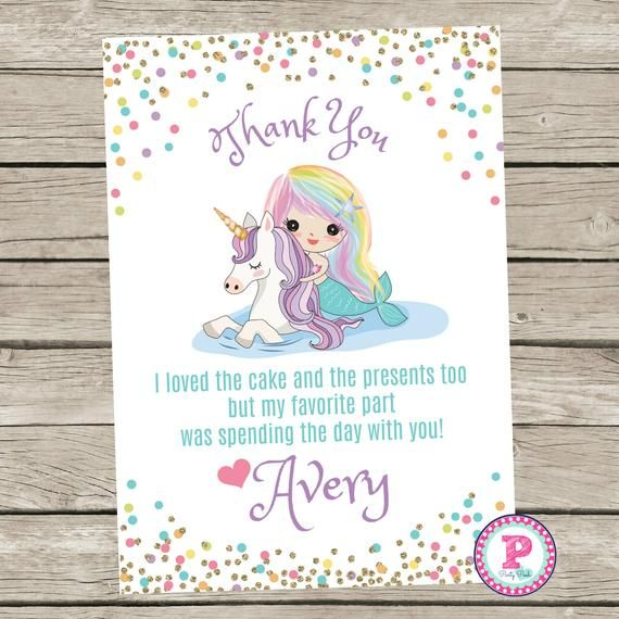 Mermaid Unicorn Birthday Party Thank You Cards Pastel Confetti Pool Party Splish Splash Pad Waterpar - Unicorn birthday parties, Unicorn birthday party invitation, Unicorn pool party, Unicorn birthday, Birthday party invitations, Pet adoption party - This listing is for a Personalized Thank you Card   Perfect for your child's next Mermaid Unicorn Pool Party, Waterpark Party, Splash Pad Party, etc   Not an Instant Download Please leave Child's Name at checkout Any questions please feel free to ask!