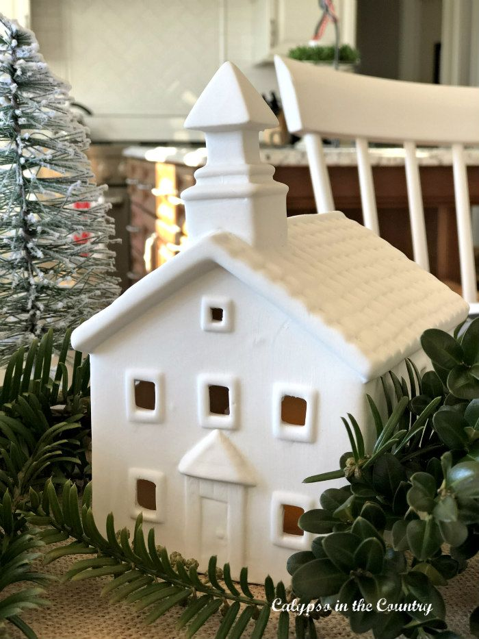 Christmas Table with White Ceramic Village for the ...