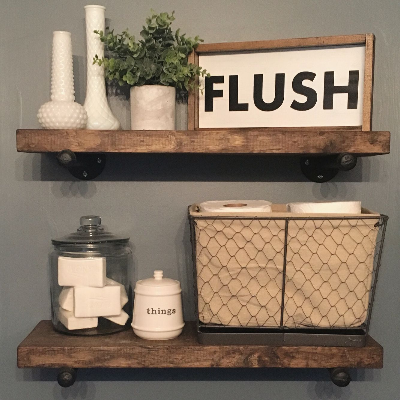 Bathroom decor flush sign industrial shelves farmhouse decor