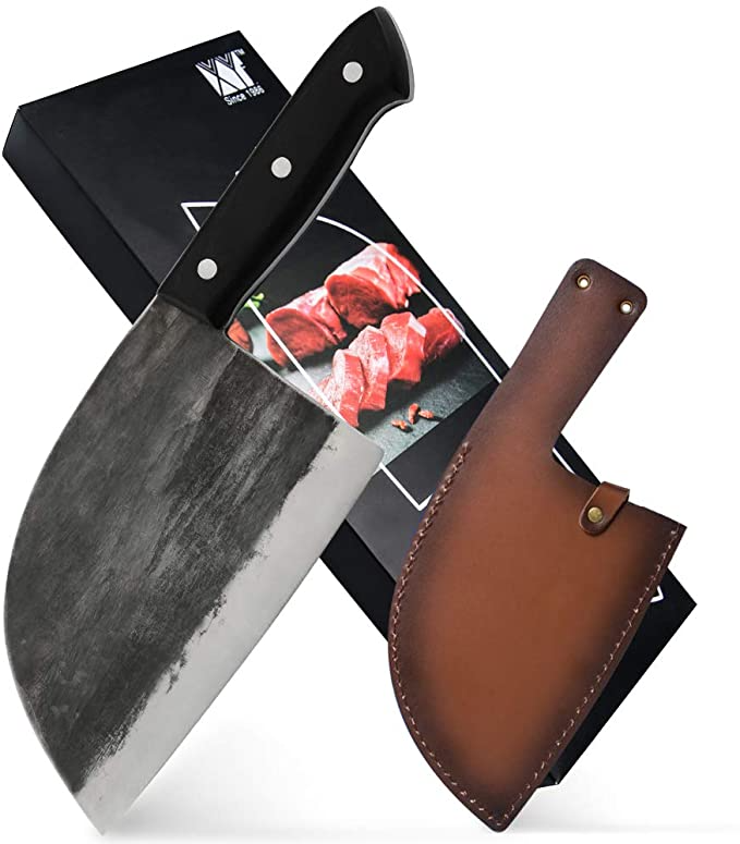 Amazon Com Xyj Full Tang Butcher Knife Handmade Forged Kitchen Chef Knife High Carbon Clad Steel Butcher Cle Knives Kitchen Chefs Butcher Knife Kitchen Knives