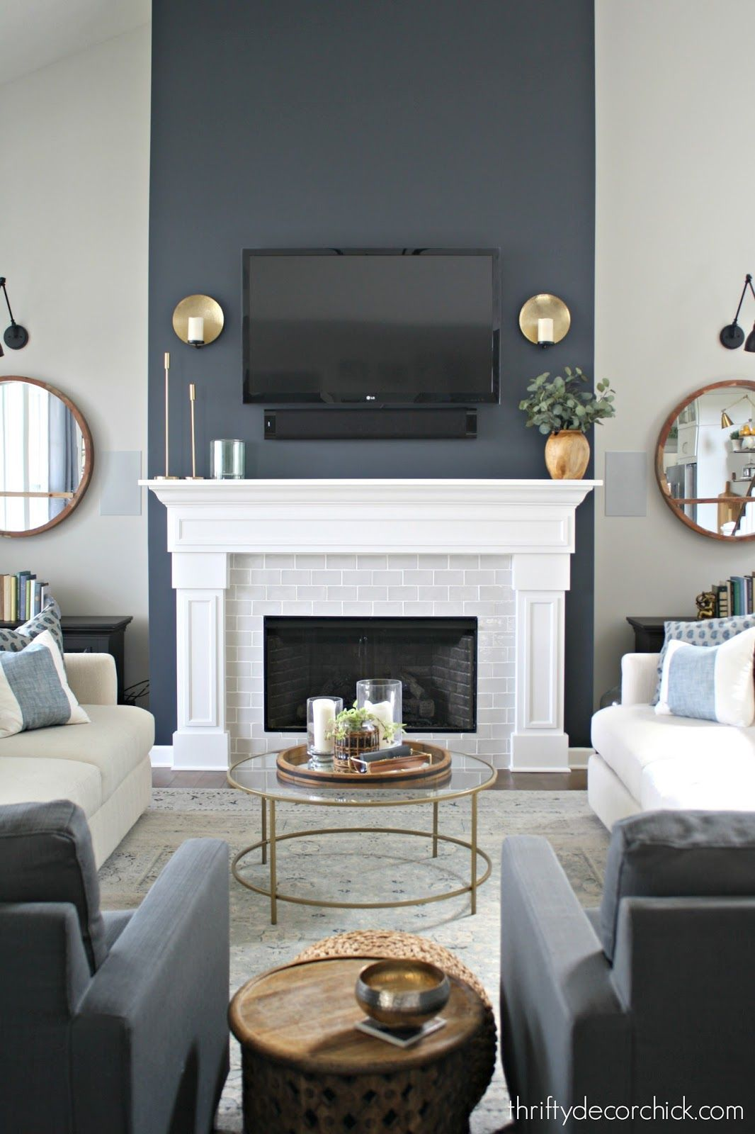 Tall Fireplace Wall Transformation With Paint Fireplace Accent