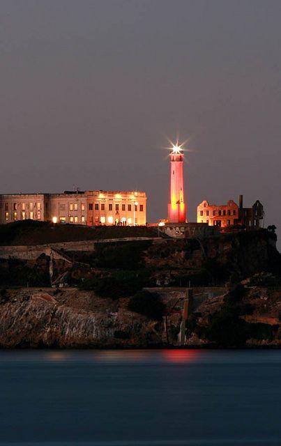 Alcatraz Lighthouse Lit In Orange In 2020 Lighthouse Beautiful