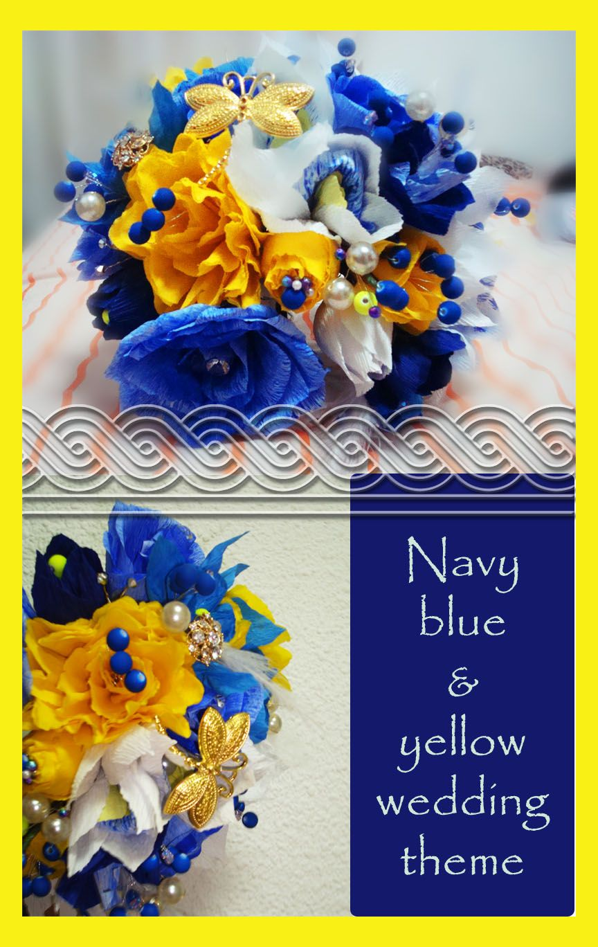 Navy blue and yellow wedding papaer flowers bouquet with swarovski navy blue and yellow wedding papaer flowers bouquet with swarovski crystals pearls and beads izmirmasajfo Image collections