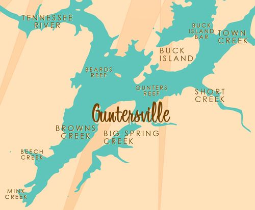 Lake Guntersville Map Lake Guntersville, AL Map Print — Lakebound Lake Maps | For the