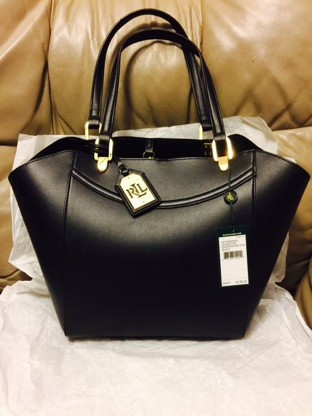 LAUREN RALPH LAUREN LEXINGTON SHOPPER BAG Handbag Tote Black Nwt New