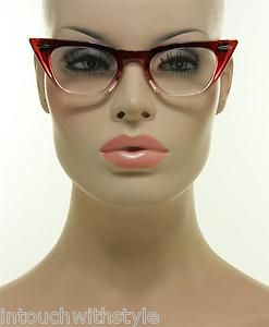 New Red & Clear Frame Lens Retro Trendy Cateye Women's Vintage Style Eyeglasses