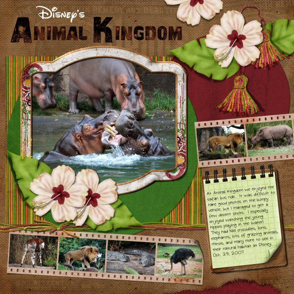Layout Animal Kingdom Disney Disney Scrapbooking Layouts Disney Scrapbook