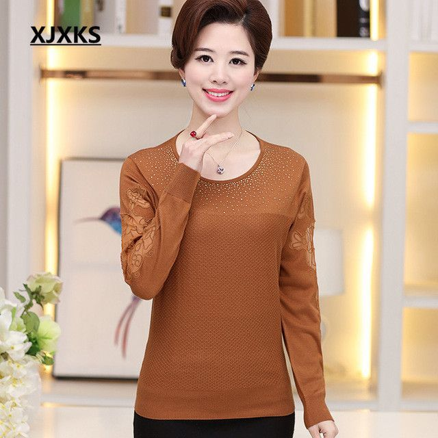 Spring and autumn Women pullovers 2016 new winter women sweater middle-aged casual loose long-sleeved shirt Free shipping