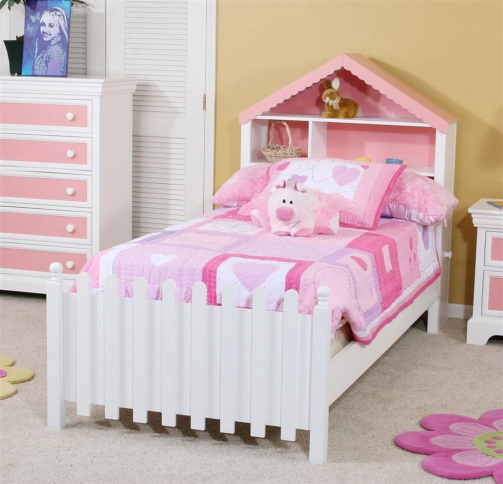Twin Size Bed W Dollhouse Headboard Picket Fence Footboard
