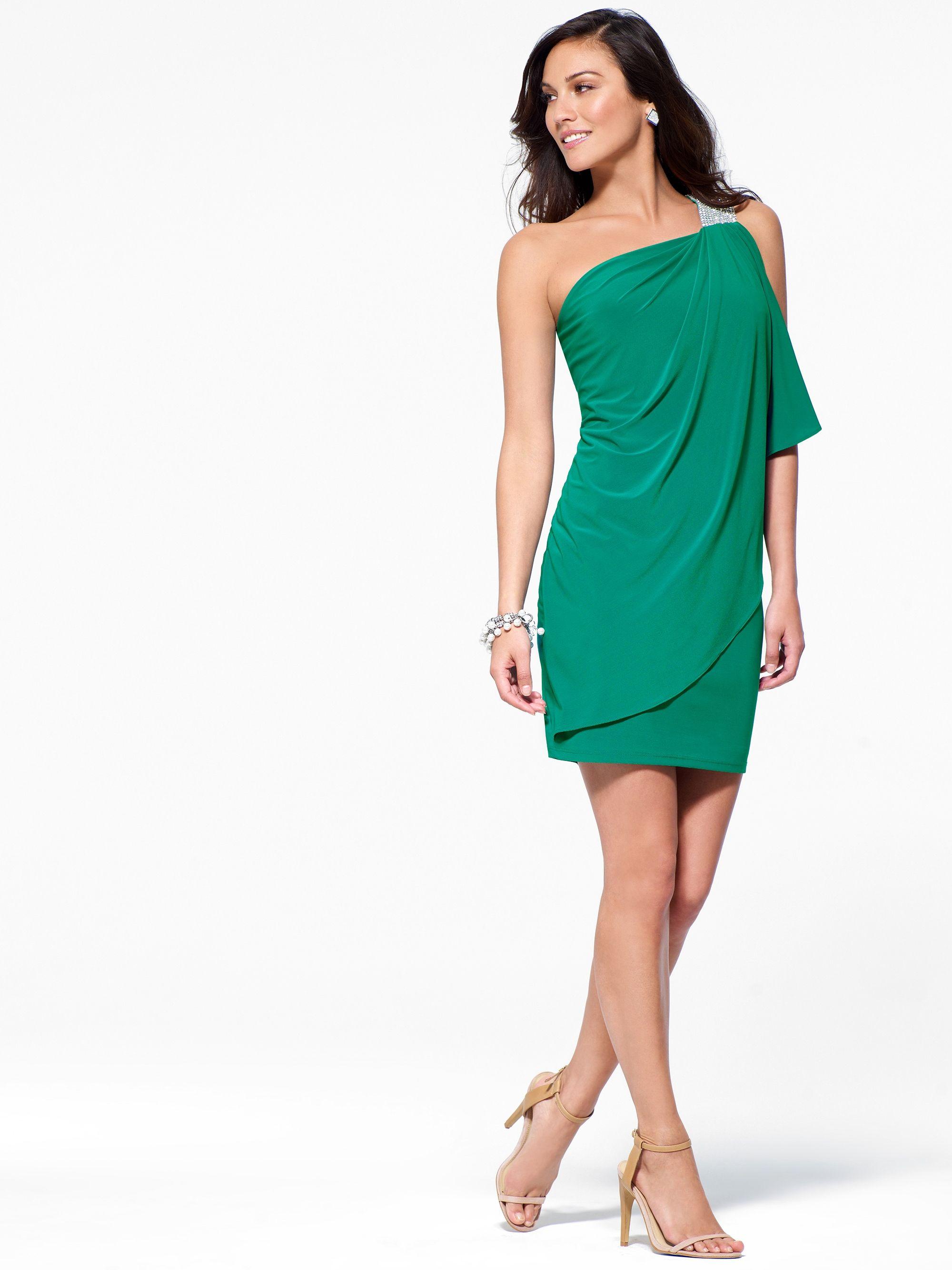 COCKTAIL DRESSES | Green One Shoulder Dress With Rhinestone Trim ...