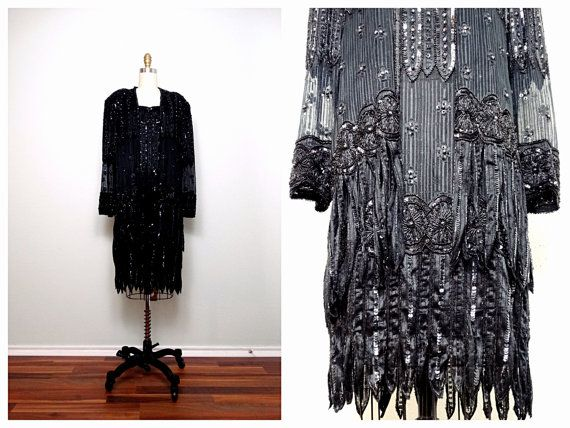 Avant Garde Beaded Sequined Jacket by Judith Ann Creations  Retro Black /& Gold Sequin Top and Evening Jacket
