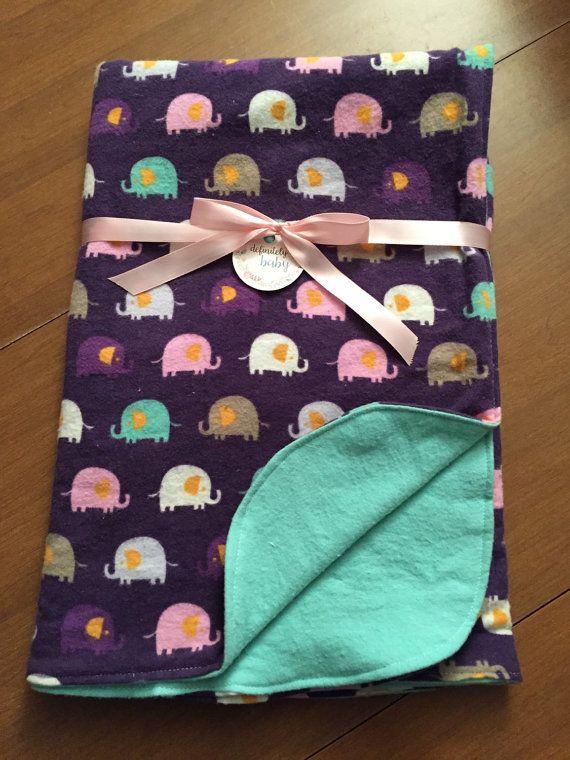 Purple and Mint Elephant Double Sided by DefinitelyBabyShop