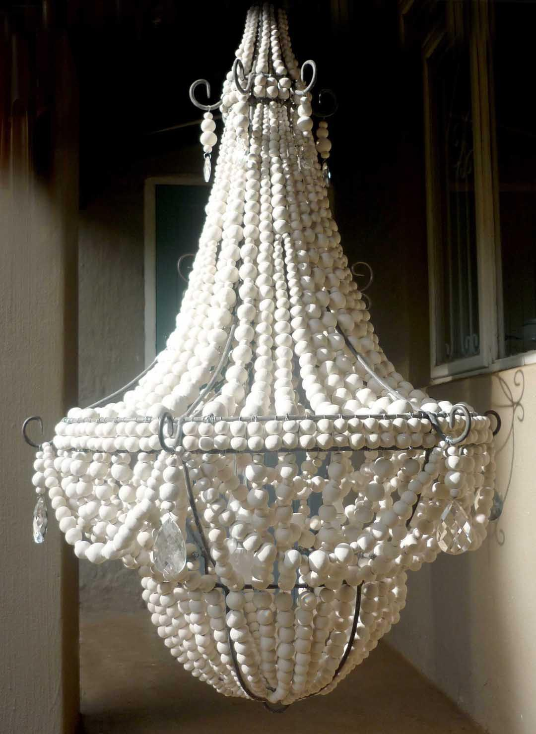Elena wood bead chandelier chandeliers pinterest candelabros elena wood bead chandelier aloadofball Image collections