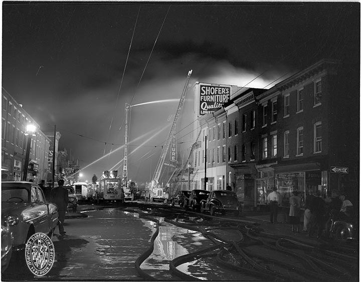 Shofers Furniture [building] Fire. Baltimore, MarylandNot DatedPhotograph  By Robert Kniesche (1906
