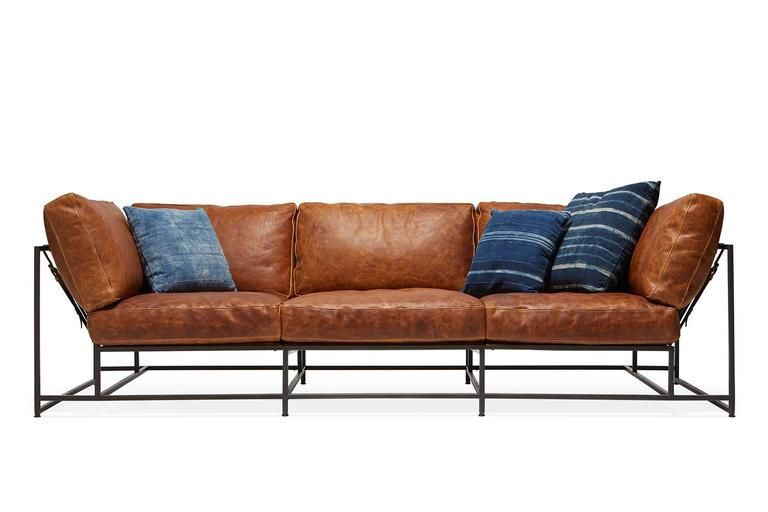 Cognac Brown Leather And Blackened Steel Sofa Steel Sofa Leather Sofa Furniture