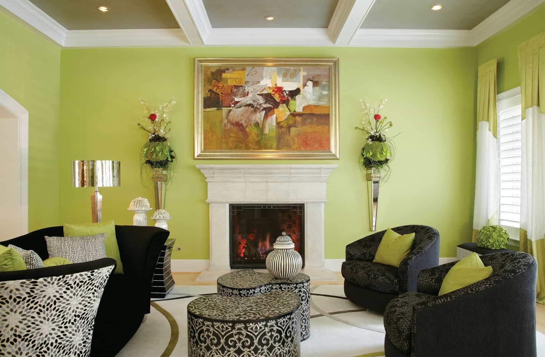 Contemporary Living Room With Lime Green Walls And Mo