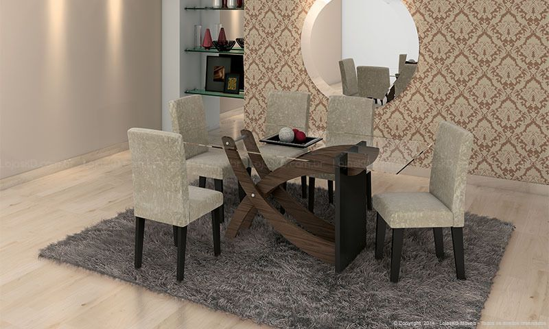 Sala De Jantar Com Tampo De Vidro ~ Conjunto para Sala de Jantar com Mesa com tampo de vidro e 6 Cadeiras