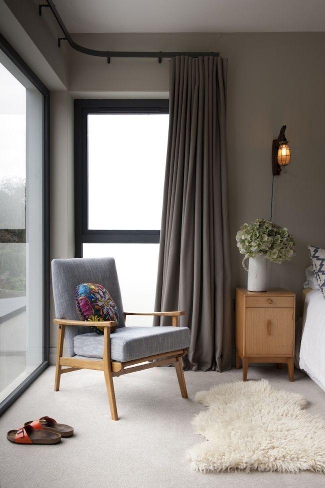 Corner Window With Corner Curtain Design Ideas Curtains Living Room House Interior Bedroom Design