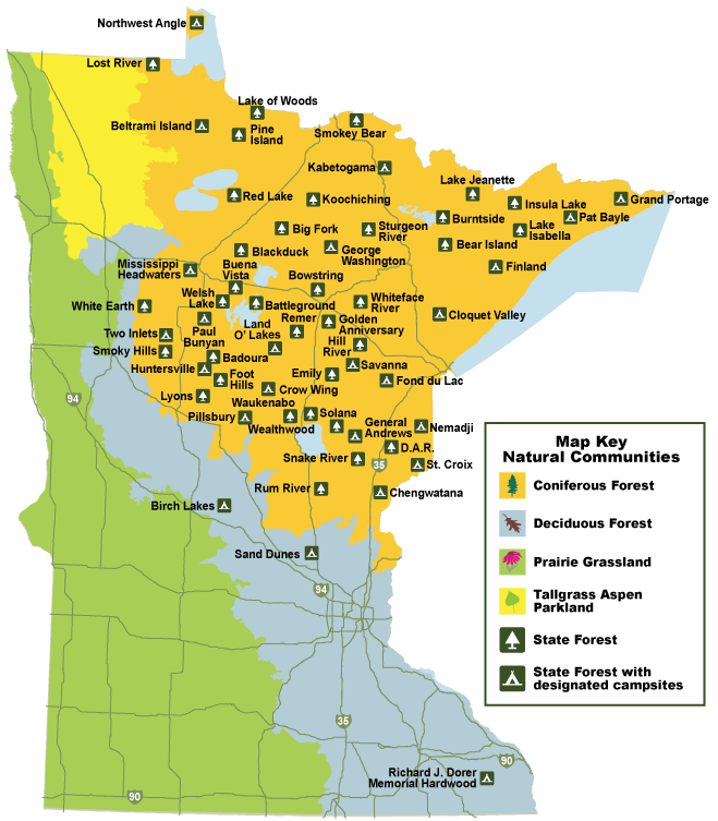 Minnesota State Forests Adventures State Forest Forest Map