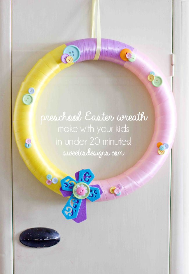 Preschool Easter Wreath- this is an awesome idea for last minute Easter decor your preschooler can make! - Sweet C's Designs