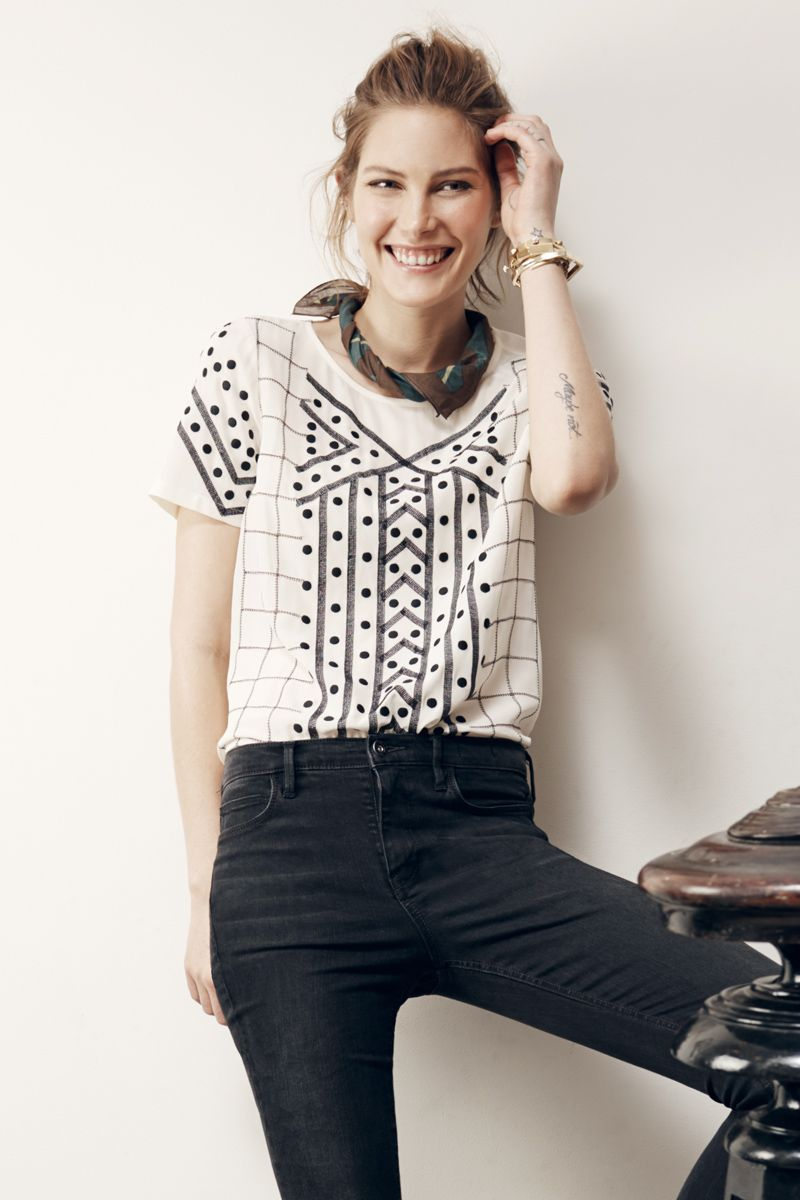 Madewell Silk Embroidered tee worn with the High Riser Skinny Skinny ankle  jeans and the camouflage