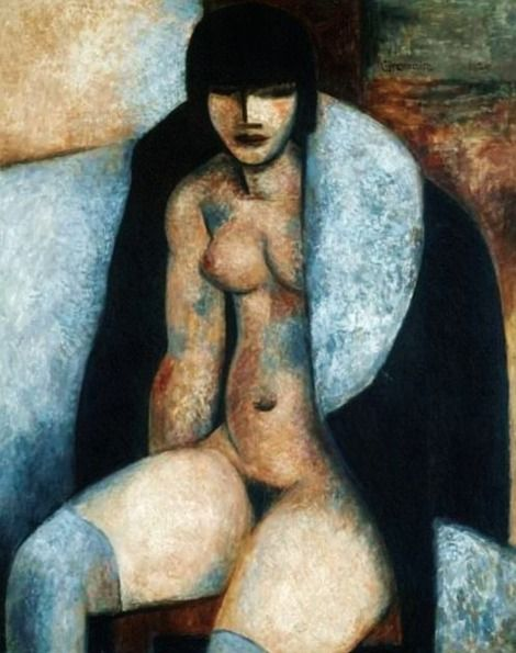 Marcel Gromaire, (1892-1971), 1929, Nude with Jacket, Oil on canvas. on ArtStack #marcel-gromaire #art