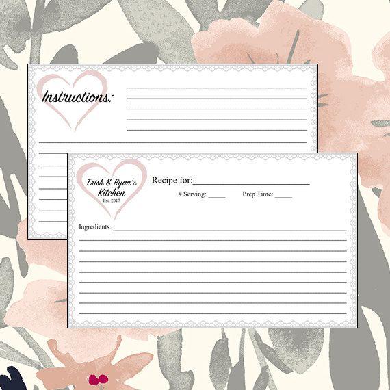 Recipe Card - Bridal Shower - Bridal Party - Wedding Gift - Custom Bride & Groom Names - Wedding Date - Digital Download by BlissfulSalutations on Etsy