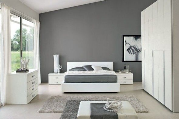 Elegant And Cozy White And Grey Bedroom Design In Modern