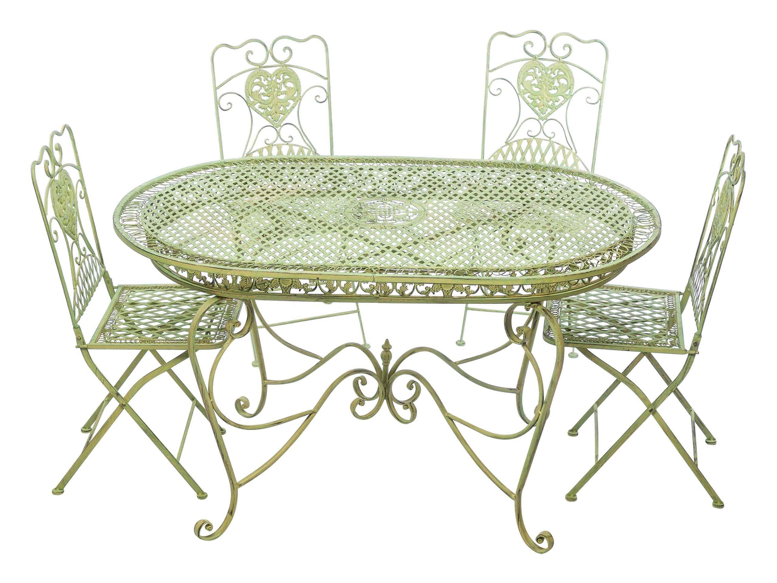 Garnitur Gartentisch 4 Stühle Grün Eisen Gartenmöbel Stuhl