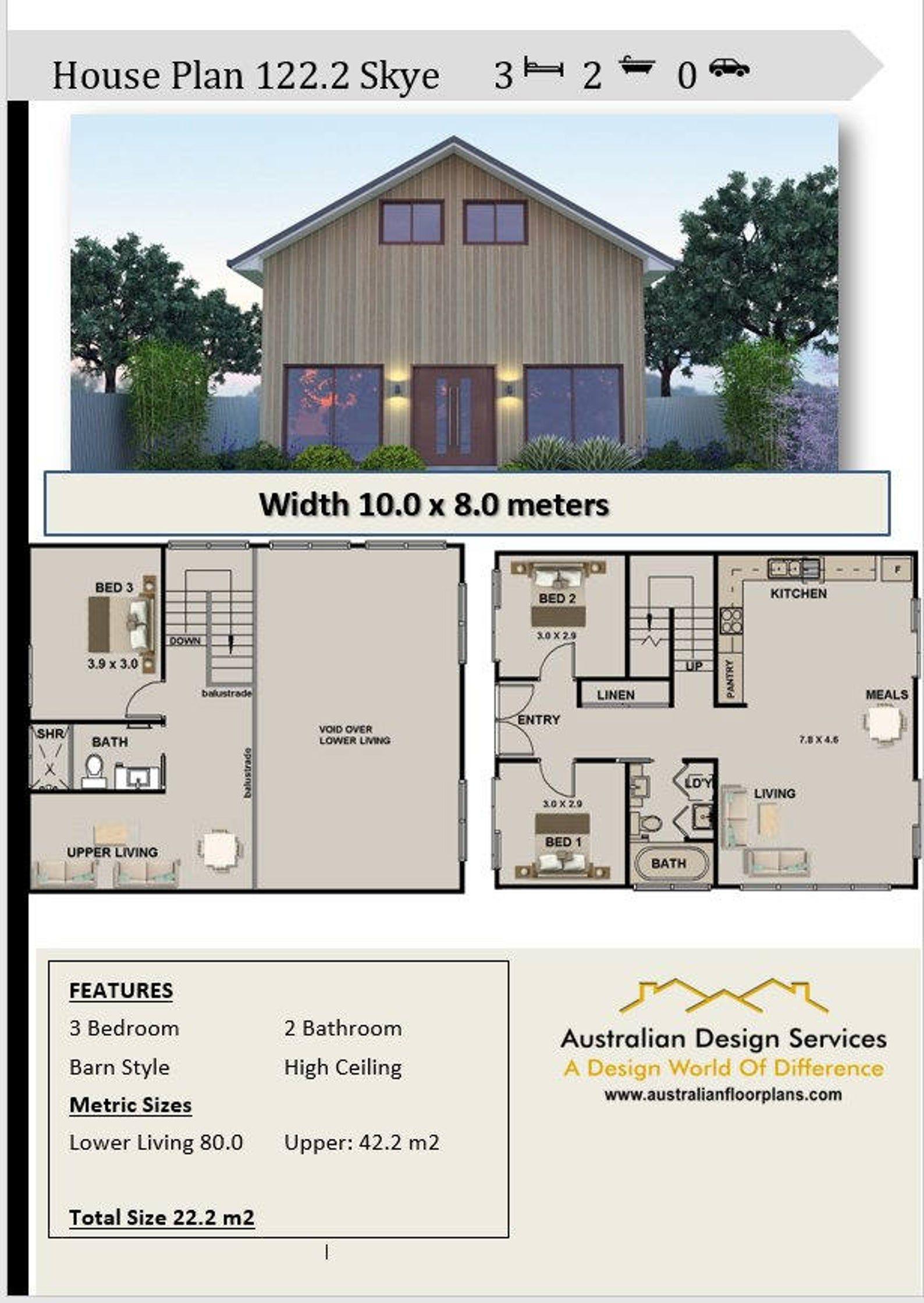 122 2 M2 Barn Style House Plan 3 Bed Australian House Etsy In 2021 Barn Style House Plans Barn House Plans Barn Style House