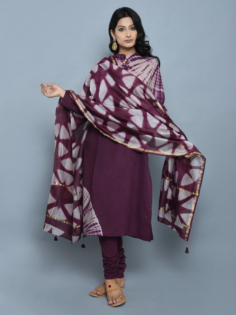 b7f5ab1587 Purple Tie and Dye Cotton Straight Kurta with Churidar and Dupatta - Set of  3