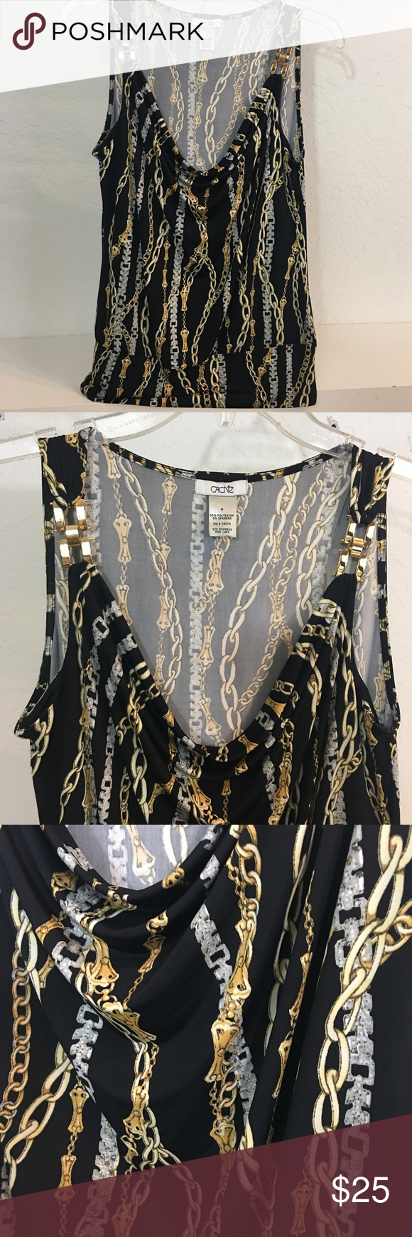 "Cache Spandex Black & Gold Print Sleeveless Blouse ✅Price Firm...Save With Bundles✅.  Excellent condition. Black, Gold & white Sleeveless print Polyester & Spandex Top. Bust: 36-38"". Cache Tops"