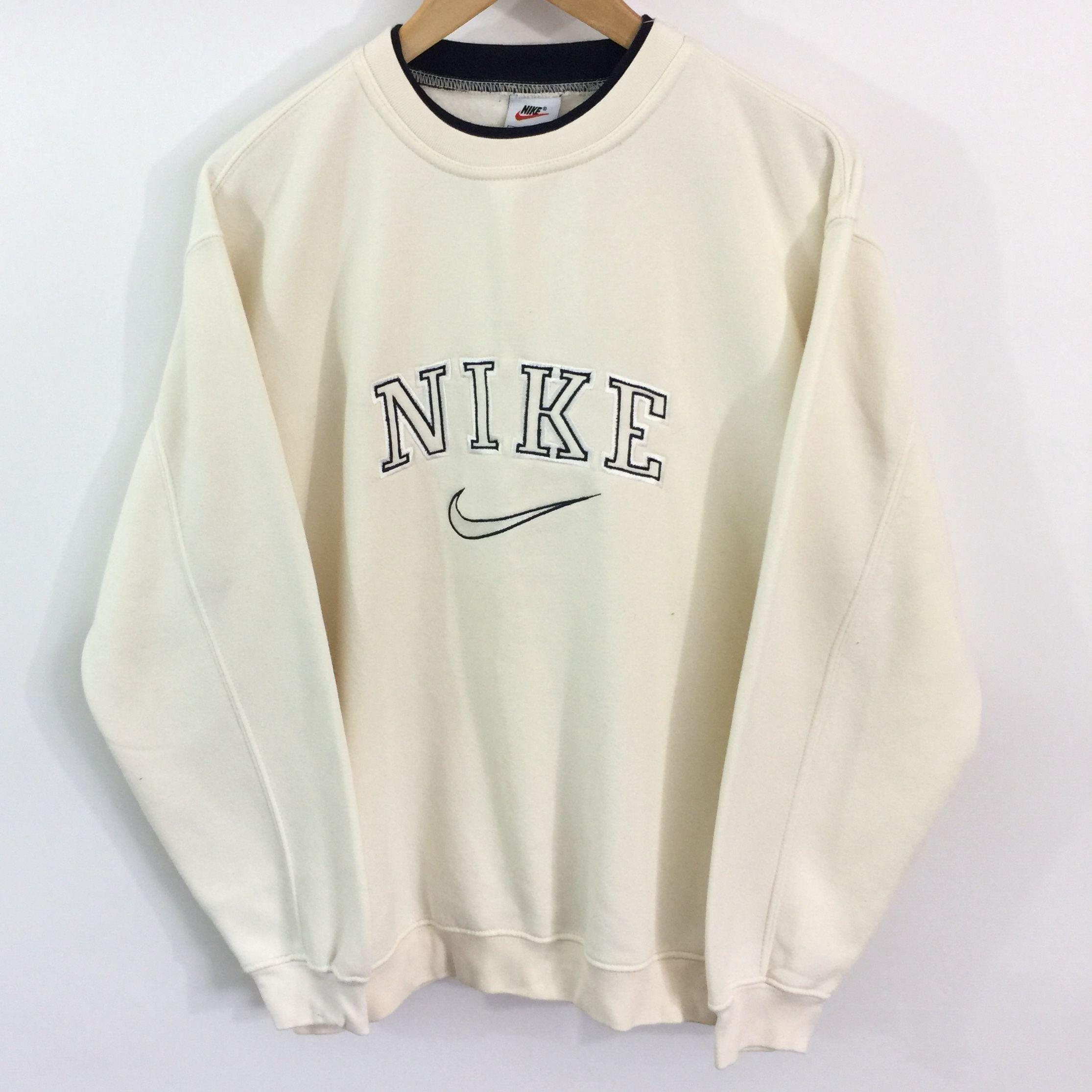 Vintage Nike Sweatshirt Label Size Medium Cream Depop In 2020 Vintage Nike Sweatshirt Vintage Hoodies Retro Outfits