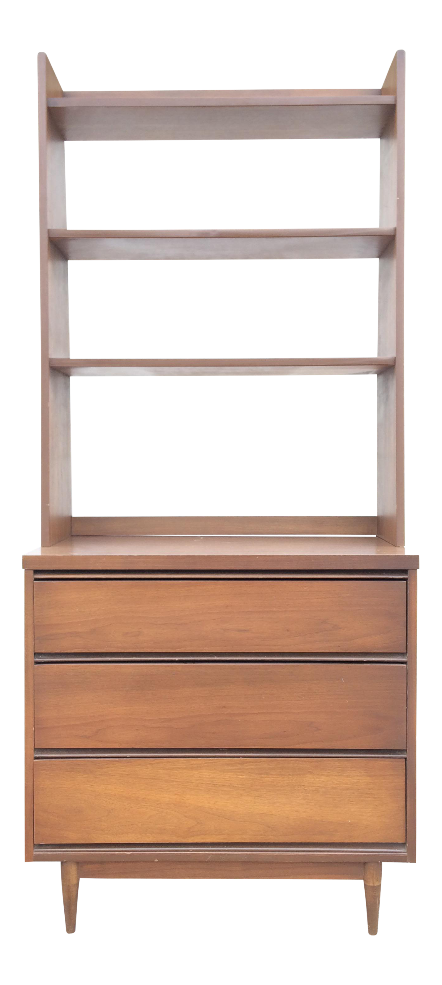 Mid Century Walnut Chest Of Drawers With Bookcase Top Bookcase Travel Bedroom Chest Of Drawers
