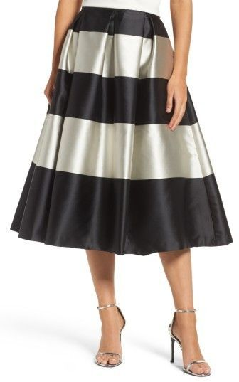 979443883f Black and silver wide striped midi skirt. Wide pleated skirt, flare skirt,  swing skirt. (sponsored affiliate link)
