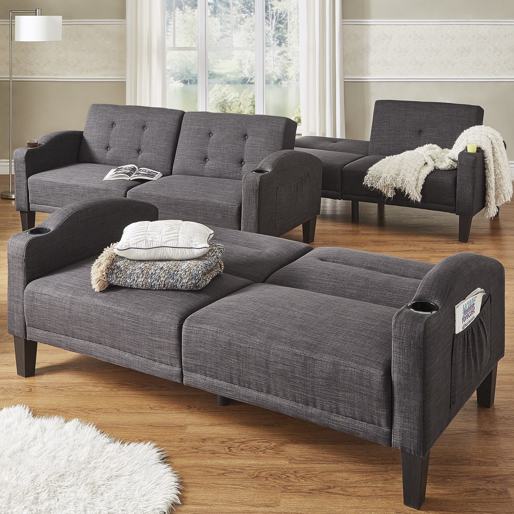 Dominic Dark Grey Linen Cup Holder Futon Sofa iNSPIRE Q Modern