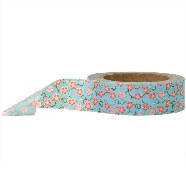 Washi Tape - Flowers Blue and Red Floral