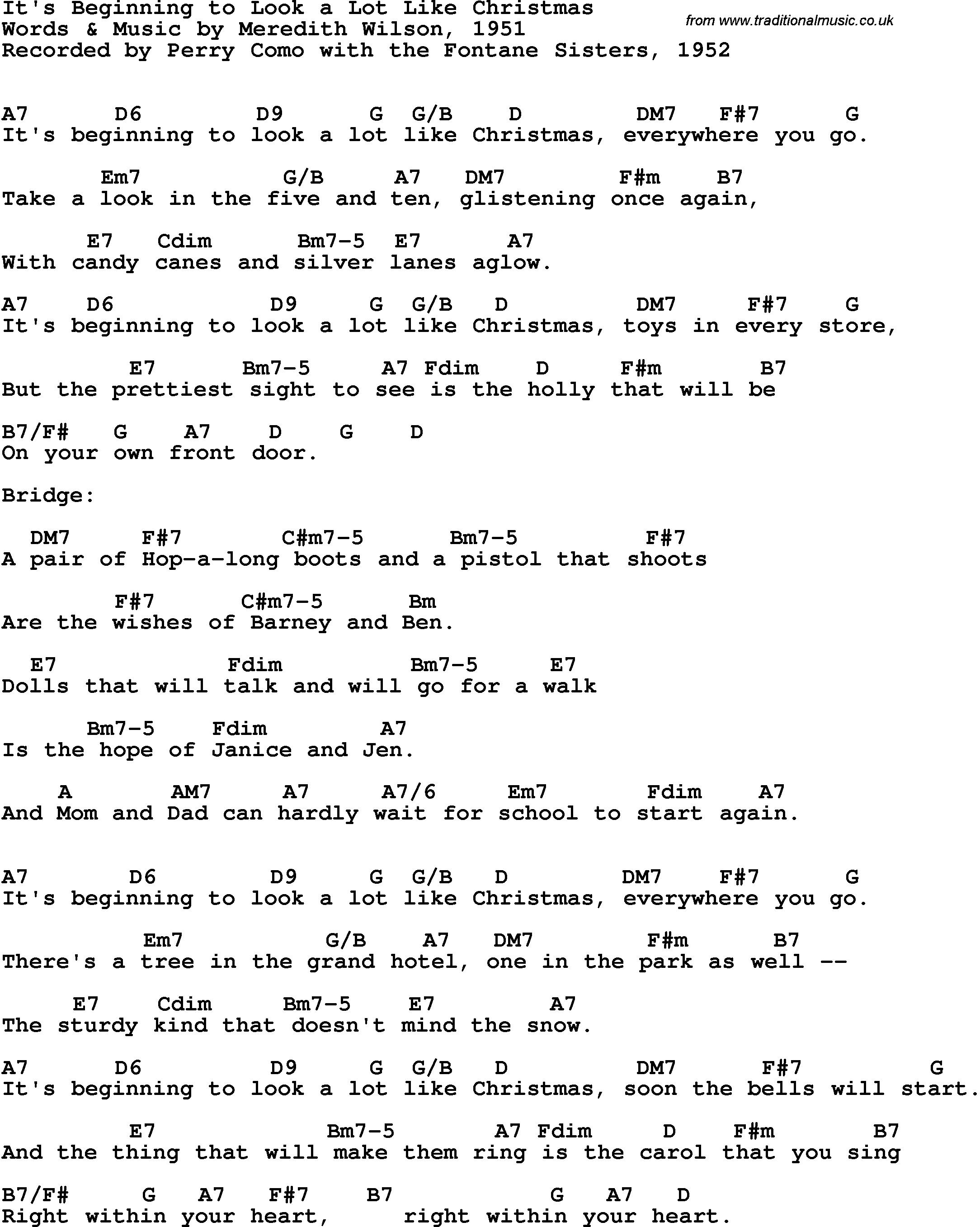 it\'s beginning to look like christmas lyrics | It\'s Beginning To ...