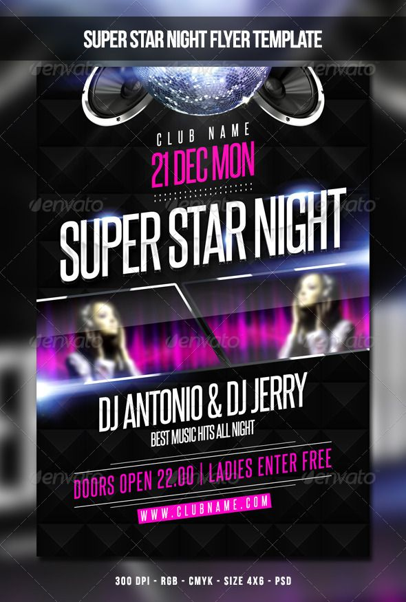 Super Star Night Flyer Template | Fonts-logos-icons | Flyer