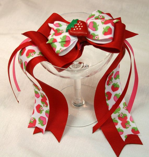 Strawberry Themed Handmade Boutique Hair Bow and by MagnoliaWay, $12.50
