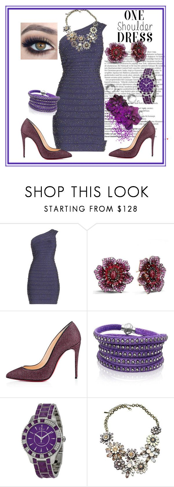 """""""One shoulder dress """" by daisyarias7 ❤ liked on Polyvore featuring Hervé Léger, Balmain, Effy Jewelry, Christian Louboutin, Sif Jakobs Jewellery, Christian Dior and BaubleBar"""