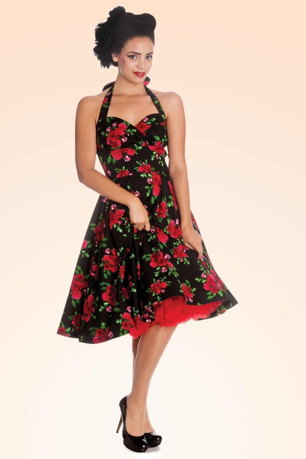 Bunny - 50s Retro Halter Cannes Roses Dress in Black