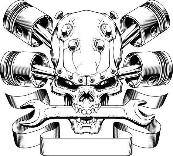Motorcycle Logo 1 Skull Pistons Crossed Mechanic Wrench Bike Biker