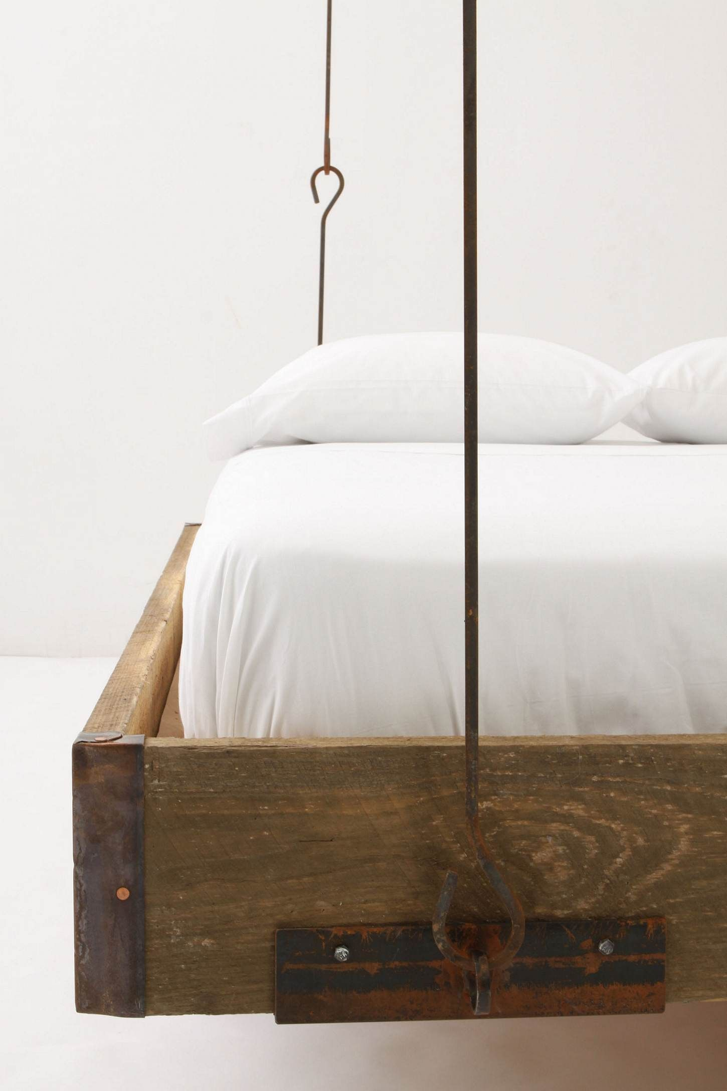 hanging wood bed frame anthropology or a DIY project