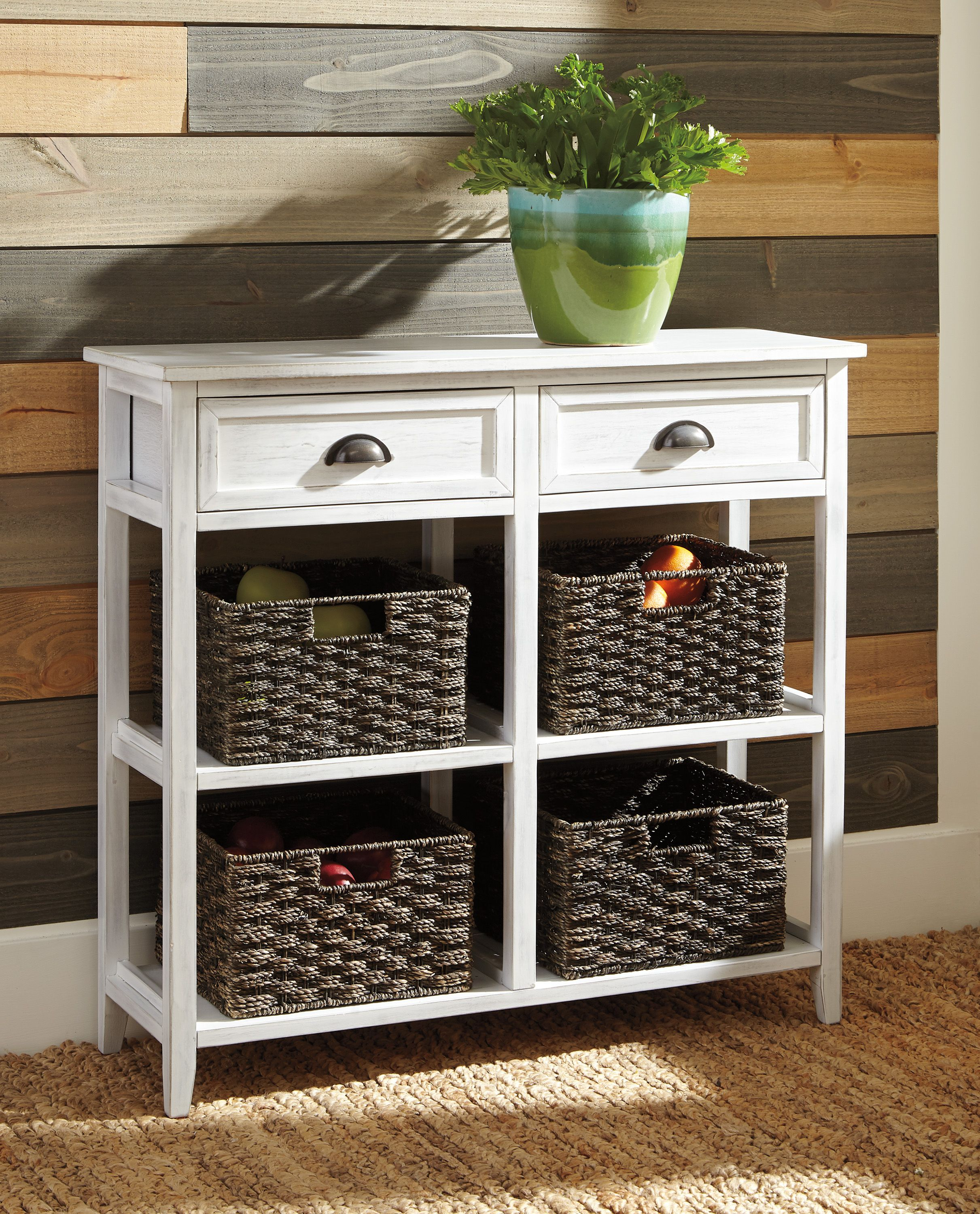 Ashley Oslember Storage Accent Table With Baskets Homemakers