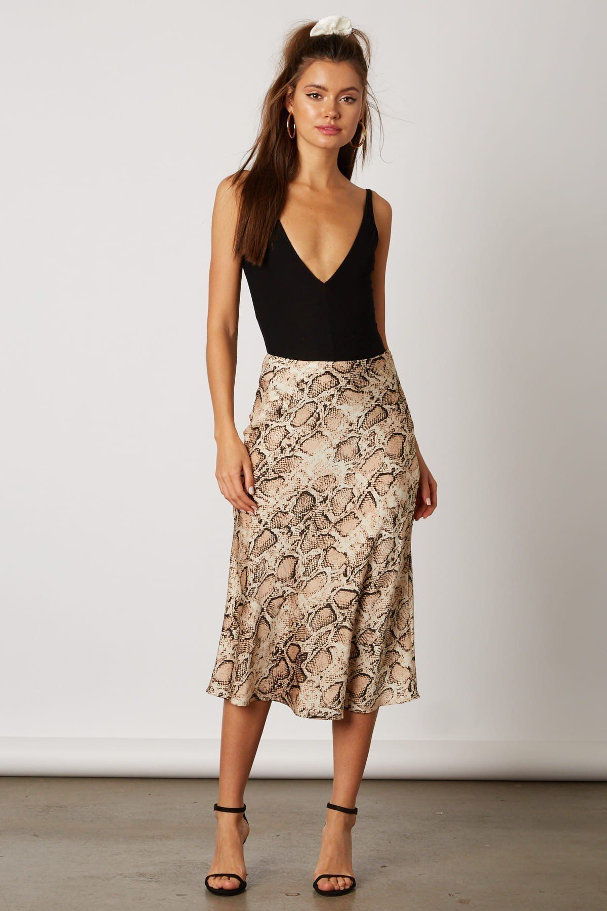 463a781889 Snake Print Satin Midi Skirt in 2019 | Fashion | Satin midi skirt ...