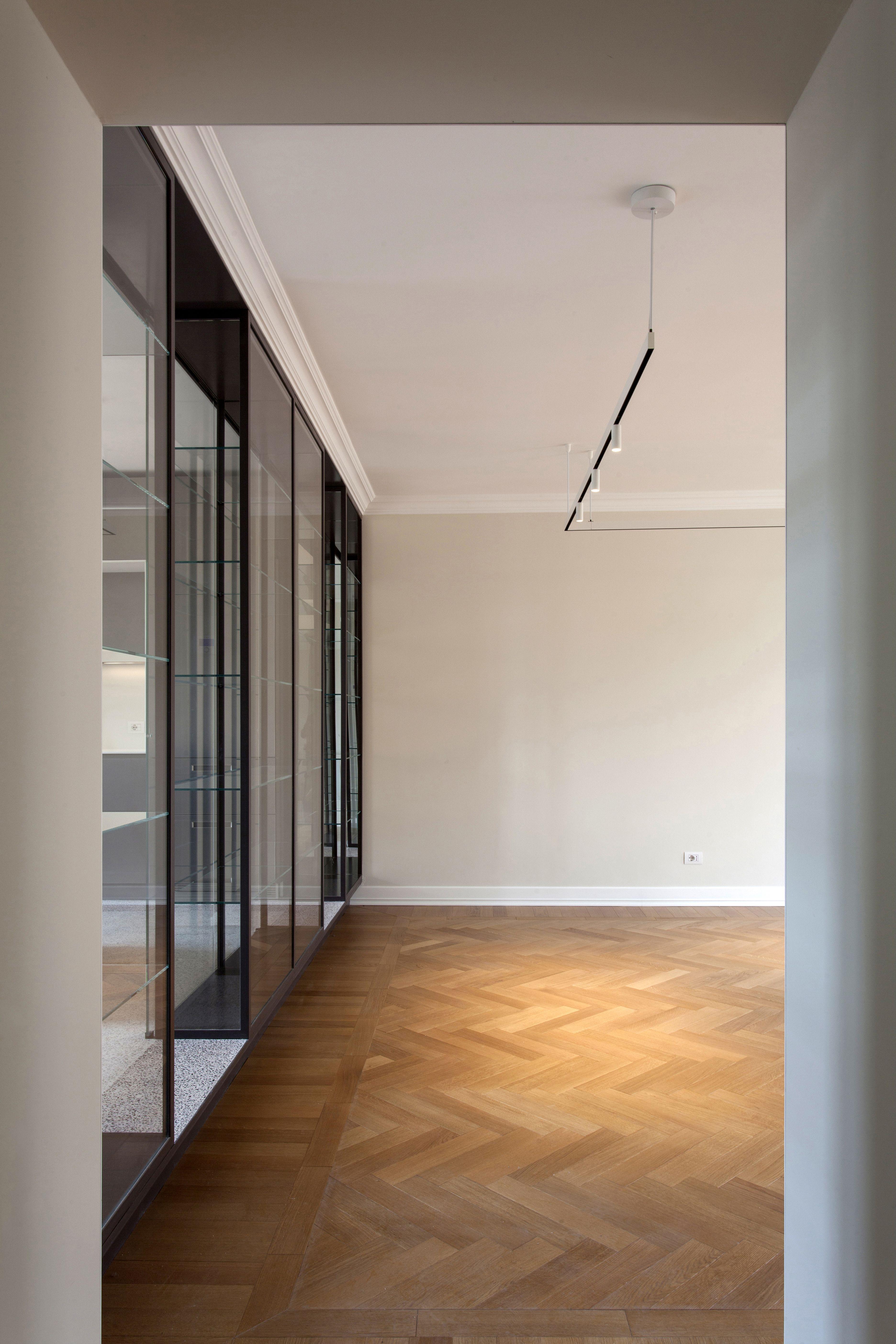 Dettagli parete divisori in vetro , illuminazione con