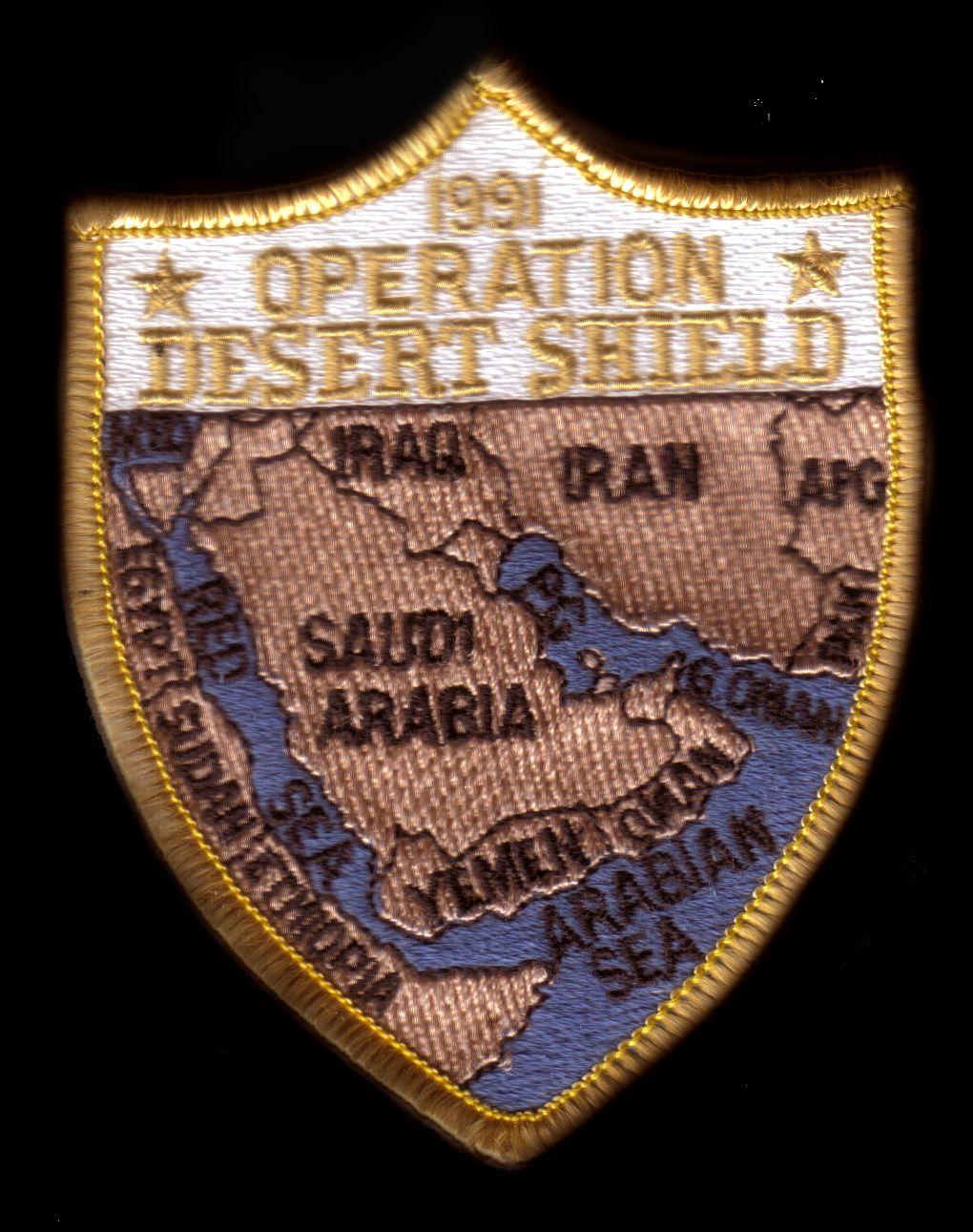 Desert Shield Patch   Military insignia, Operation desert shield ...