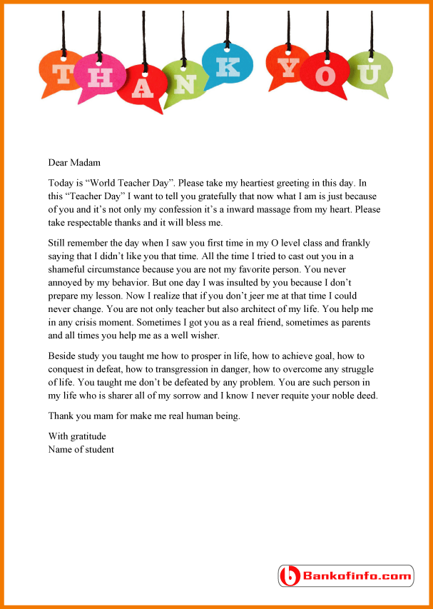 Thank You Letter Teacher From Student Sample Letters For